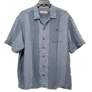 Tommy Bahama Linen Shirt Blue Stripe Gold Wood